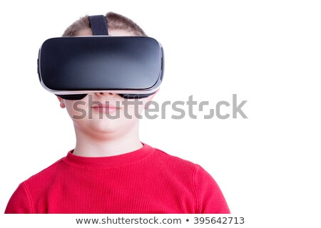 Child with virtual reality headset looking ahead Stock photo © ozgur