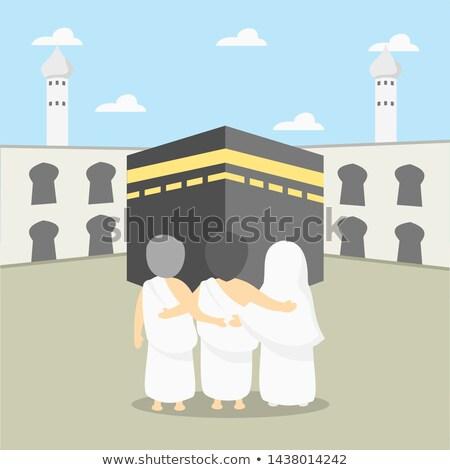Muslim arabic family going to hajj, isolated on white Stock photo © zurijeta