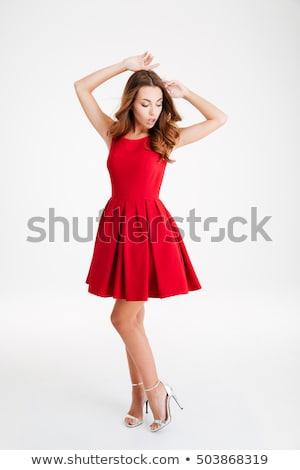 Elegante brunette vrouw poseren mooie jonge vrouw Stockfoto © NeonShot