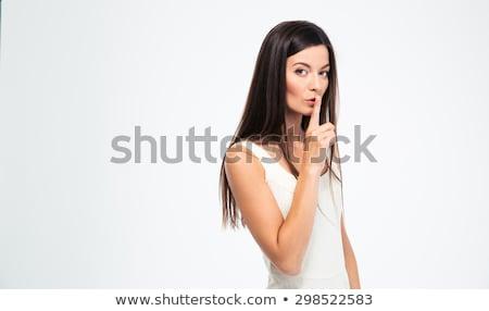 çekici · genç · kadın · sessizlik · jest · kırmızı · elbise - stok fotoğraf © deandrobot