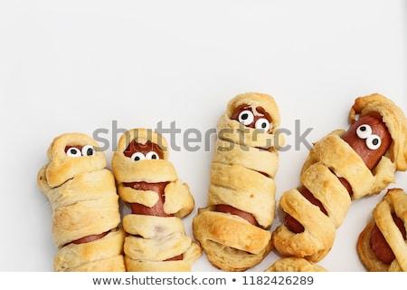 Hot Dog круассаны пластина пряный Сток-фото © ozgur