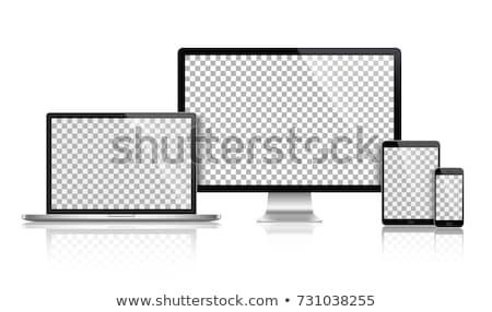 Foto stock: Portátil · tableta · teléfono · móvil · frente · vista · ipad