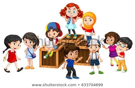 Muitos feliz crianças caixas ilustração Foto stock © bluering