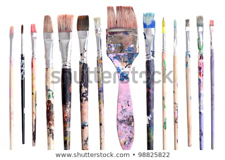 watercolors and old brushes isolated on the white background cl stock photo © yatsenko