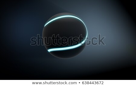 A futuristic sports concept of a black textured tennis ball lit with neon markings flying through da Stock photo © albund