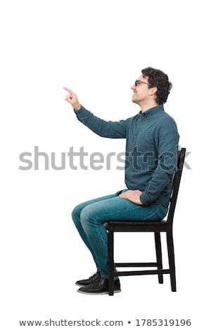 Felice imprenditore toccare invisibile schermo bianco Foto d'archivio © wavebreak_media