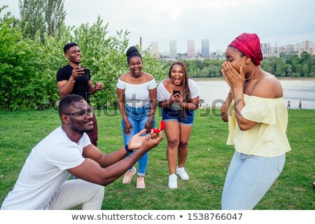 man proposing woman with engagement ring stock photo © wavebreak_media