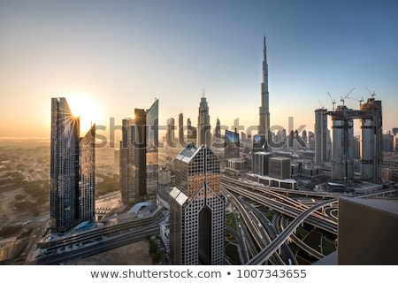 Egyesült Arab Emírségek űr alkonyat piros város fények pálya Stock fotó © Harlekino