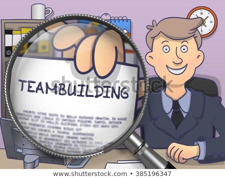 csapatépítés · nagyító · felirat · régi · papír · papír · épület - stock fotó © tashatuvango
