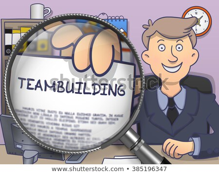 Teambuilding through Magnifying Glass. Doodle Concept. Stock photo © tashatuvango