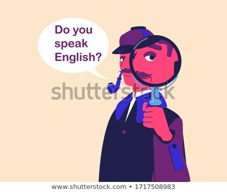 Lernen Englisch Lupe Altpapier dunkel blau Stock foto © tashatuvango