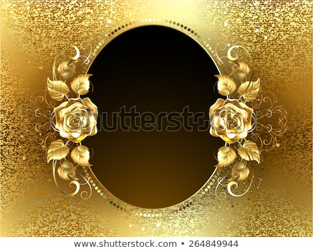 Oval banner with gold roses Stock photo © blackmoon979