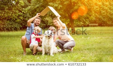 Mutlu aile köpek park portre kız adam Stok fotoğraf © wavebreak_media