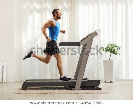 Férfi edzés futópad fitnessz illusztráció képzés Stock fotó © lenm