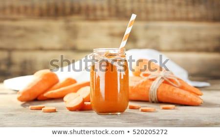 turuncu · havuç · iki · yüzlü · taze · cam · içmek - stok fotoğraf © melnyk