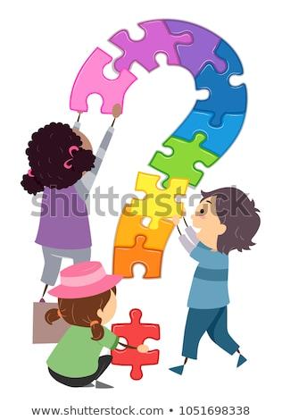 Kapcsolódás puzzle ötletek gyerekek tipográfia illusztráció Stock fotó © lenm