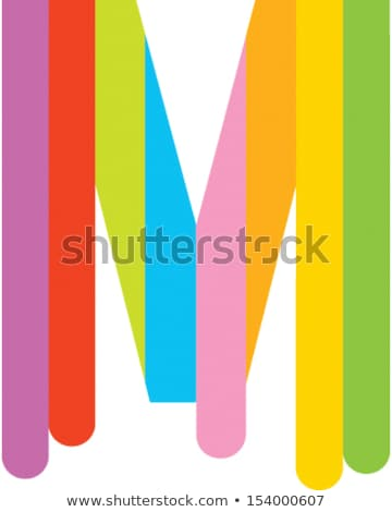orange and red letter m icon with horizontal stripes vector illu stock photo © cidepix