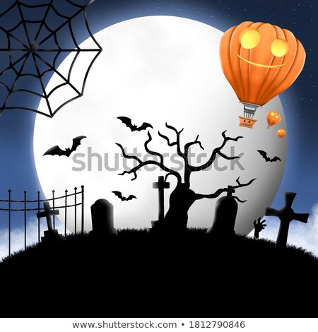 scary balloon head with bat for halloween 3d stock photo © djmilic