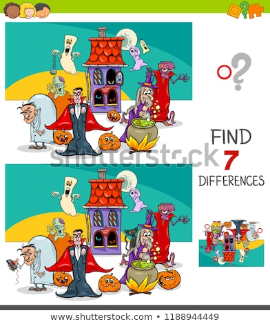 differences game with funny Halloween characters Stock photo © izakowski