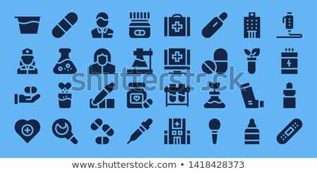 Flask for Medicine Isolated on Blue Background Stock photo © robuart