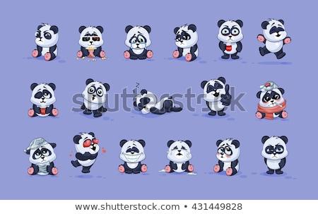 Rajz piros panda ugrik illusztráció mosolyog Stock fotó © cthoman