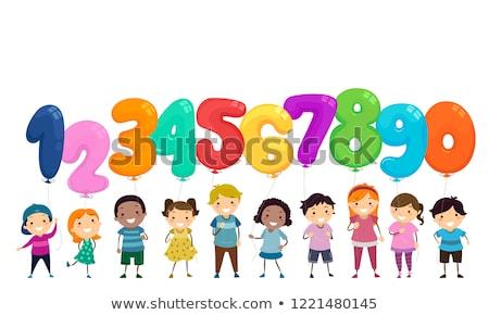 мальчика числа семь иллюстрация бумаги Сток-фото © bluering