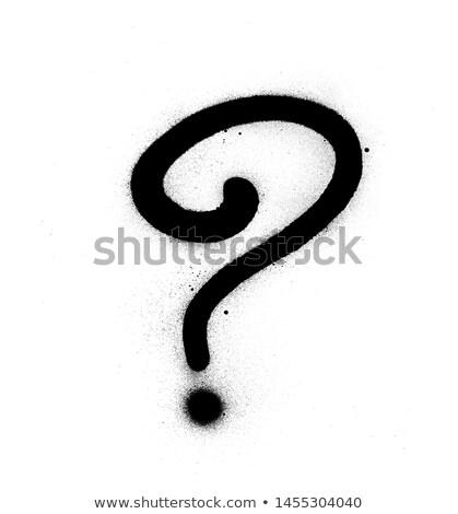 Signo de interrogación blanco negro graffiti arte graffiti etiqueta Foto stock © Melvin07