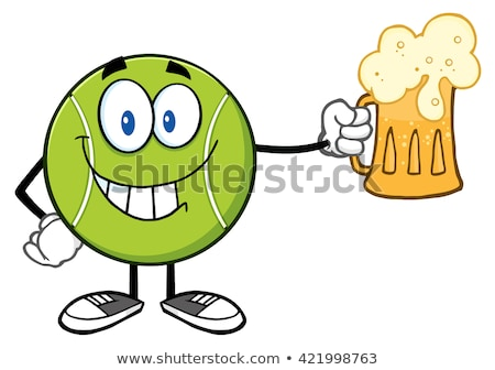 Smiling Tennis Ball Cartoon Character Holding A Beer Stock photo © hittoon