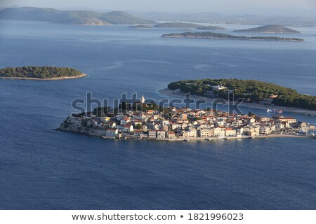 Adriatic tourist destination of Primosten aerial panoramic archi stock photo © xbrchx