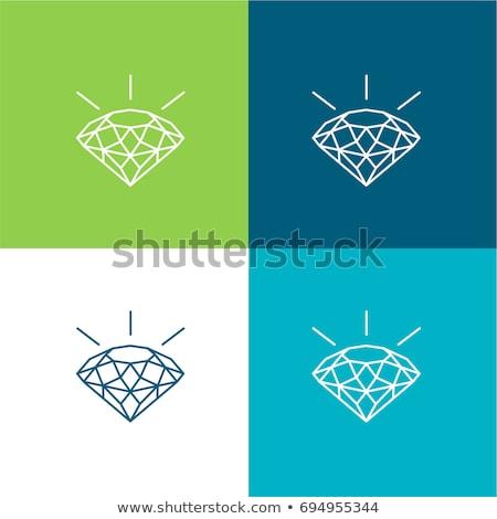 Mavi elmas vektör logo ikon imzalamak Stok fotoğraf © blaskorizov