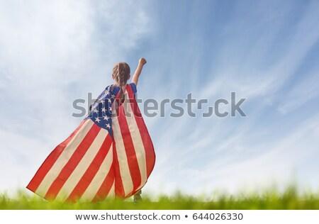 патриотический · девочку · девушки · вверх · американский - Сток-фото © JamiRae