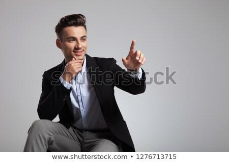Porträt · jungen · Geschäftsmann · Anzug · Hinweis · yo - stock foto © feedough