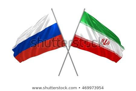 Twee vlaggen Rusland Iran geïsoleerd Stockfoto © MikhailMishchenko