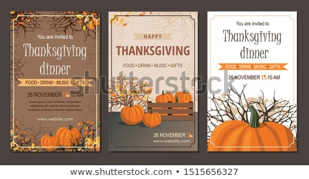 happy thanksgiving poster with food set vector stock photo © robuart