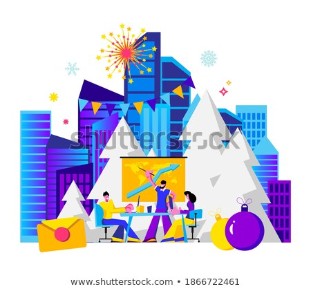 Webpage Merry Christmas and Happy New Year Vector Stock photo © robuart