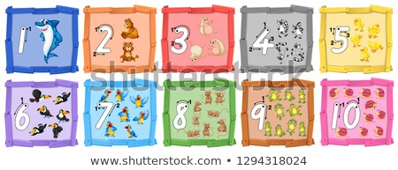 set of number tracing guide banner stock photo © colematt