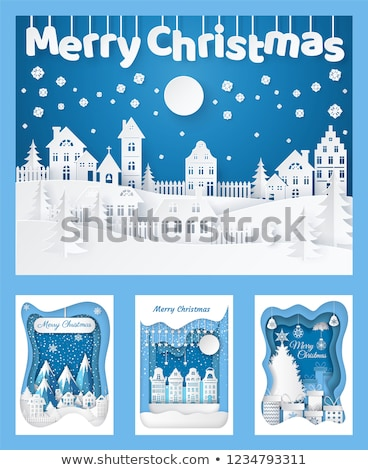 Building Silhouette Christmas Cutout Paper Cut Stock photo © robuart