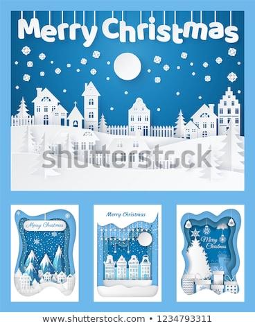 silhouette · Noël · village · église · maison · vert - photo stock © robuart