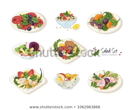 Salad, Veggies in Bowl, Color Healthy Food Vector Stock photo © robuart