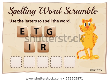 Spelling word scramble game template with word tiger Stock photo © colematt
