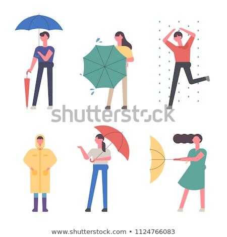 Regenachtig dag kleurrijk ontwerp stijl illustratie Stockfoto © Decorwithme