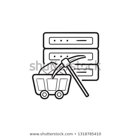 Server and pickaxe hand drawn outline doodle icon. Stock photo © RAStudio