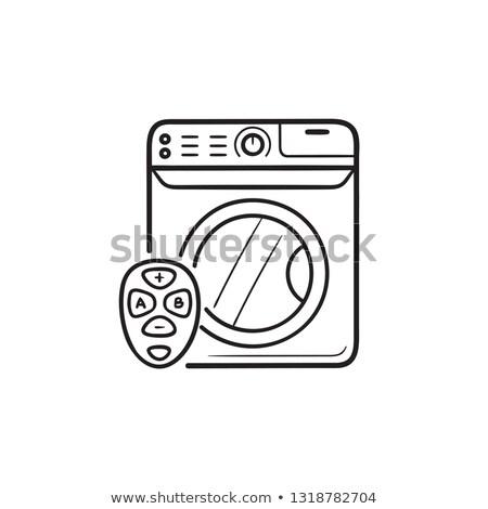 vetor · ícone · máquina · de · lavar · roupa · cinza · horizontal · azul - foto stock © rastudio