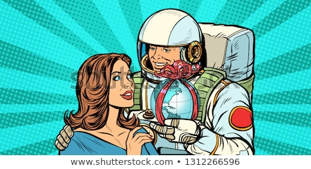 çift sevmek astronot kadın toprak pop art Stok fotoğraf © studiostoks