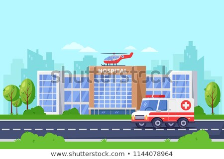 Hospital building with ambulance helicopter on roof and car standing on road, medical services, clin Stock photo © MarySan