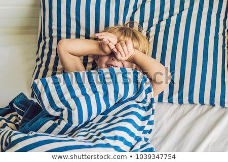 かわいい 少年 アップ ベッド 子供 睡眠 ストックフォト © galitskaya