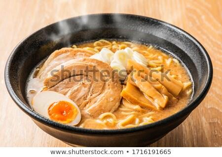 Finom ramen japán leves háttér zöld Stock fotó © fanfo