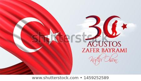 Sticker design for flag of Turkey Stock photo © colematt