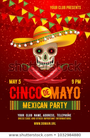 Stock photo: Cinco de Mayo text greeting card template. Skull in sombrero and maracas