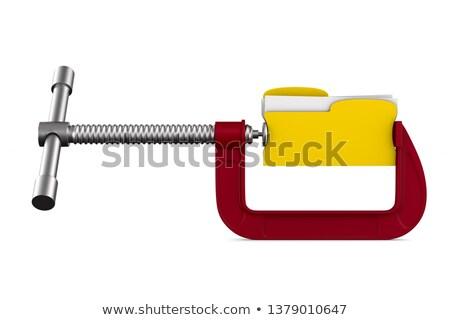 clamp with folder on white background. Isolated 3D illustration Stock photo © ISerg